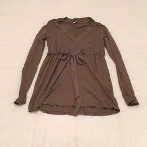 Splendid mocha top tunic size small waist tie